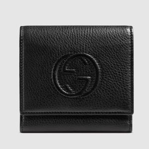 Gucci Soho Black Leather Trifold Wallet